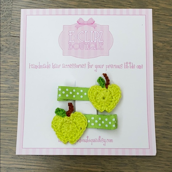 Other - New handmade crochet green apple hair clips